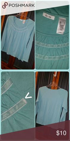 """Cotton knit top Aqua 100% cotton knit top with front gathering and velvet trim. Wide scoop neck. Bust measures 19.75"""" across. Good used condition. Note the small flaw on the velvet trim as shown in photo. liz &  Liz & Co. Tops"""