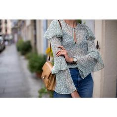 Chiffon Blouse with ruffles and bell sleeves by Margot Guilbert