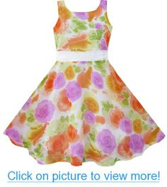 Girls Dress Purple Orange Flower Silk Pageant Wedding Child Clothes Size 4-12