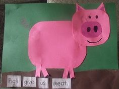 Make farm animals and tell what they give us!