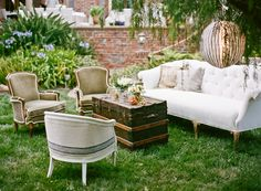 Love the idea of using old furniture outdoors for photos and lounge space outside the hall. My parents old living room set will be perfect with a bit of paint! Lounge Seating, Outdoor Lounge, Lounge Areas, Outdoor Seating, Outdoor Decor, Bar Areas, Soft Seating, Extra Seating, Outdoor Spaces