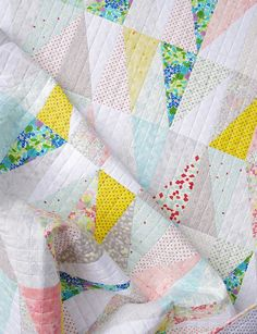 Irome Half Rectangle Triangle Quilt by Red Pepper Quilts.