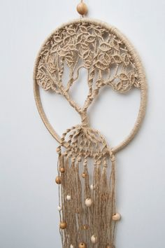 Macrame Wall decor Wall Hanging Simple macrame Fiber Arts Textile cotton decor Tapestry Boho Wedding Christmas Gift idea Tapestries Hanging ==== ITEM DETAILS ==== ★SIZE Dream catcher★ - ring: ................. 10 ......... ( 25 cm ) - height: ............ . 34 ......... (85