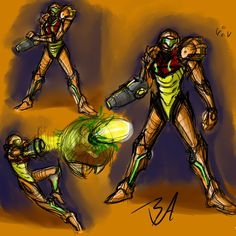 Samus Aran Quick Sketches by Benchley