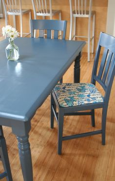 refinished kitchen table and chairs- blue paint with bird upholstery fabric