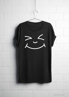 Happy Emoticon Face Shirt - Funny Gift Ideas, Gifts for Girlfriend,Funny Graphic Tee,Women Tee,Workout Top,T-Shirt,Vest, Heart