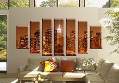 Tablou manhattan 1682 Dimensiune: 2x 30x50 cm + 2x 25x70 + 3x 25x80 cm Total: 185x80 cm Chandelier, Ceiling Lights, Candles, Lighting, Modern, Diy, Home Decor, Candelabra, Trendy Tree