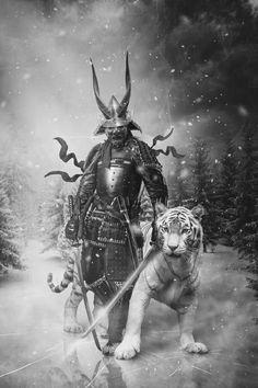 A samurai with his pet tiger are ready for war Tigre Samurai, Ronin Samurai, Samurai Tattoo, Ronin Tattoo, Geisha Tattoos, Tattoo Oriental, Datum Tattoo, Samurai Artwork, Fu Dog