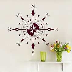 Compass Wall Decals Wind Rose Nautical Design Interior Patterns Art Home Kids Bedroom Decor Art Murals AM4 VSGraphics LLC http://www.amazon.com/dp/B01257G432/ref=cm_sw_r_pi_dp_kv40wb1T79NAJ