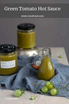 Green tomato hot sauce - spicy, sweet and tangy, it's the perfect way to use up green tomatoes at the end of season. #greentomatoes, #spicy, hot, #linsfood Savory Sauce Recipe, Hot Sauce Recipes, Chutney Recipes, Spicy Recipes, Raw Food Recipes, Cilantro Garlic Sauce, Garlic Butter Sauce, Homemade Seasonings