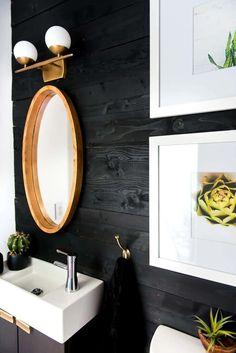 Get your room looking shiplap chic for under $50!!! #shiplap, #darkwalls, #bathroommakeover, #blackpaint, #blackshiplap