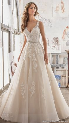 morilee spring 2017 bridal sleeveless embroidered strap v neck heavily embellished bodice romantic blush color a line wedding dress keyhole back chapel train (5510) mv #wedding #bridal #weddingdress