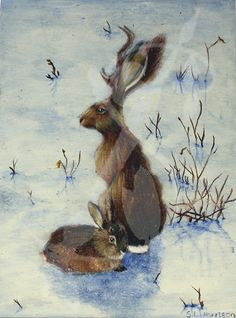 "A painting of a pair of jackalopes in the snow  Acrylic paint on Canvas Board Dimensions: 5""x7"" Framed"