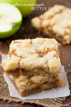 Salted Caramel Apple Butter bars have the most amazing buttery shortbread crust and a delicious caramel apple center!