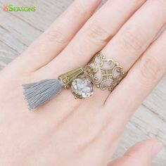 """8SEASONS New Fashion Adjustable Rings Antique Bronze Wtih Clear Faceted Bead Cotton Gray Tassel 16.7mm( 5/8"""") US 6.25, 1 Piece"""
