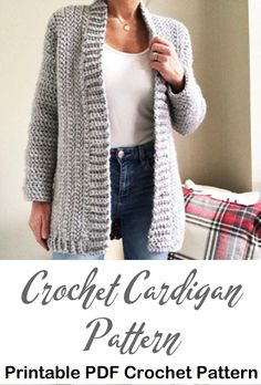 Looking for some cozy and stylish sweater crochet patterns? There are cardigans, pullovers and a hoodie. Crochet Coat, Crochet Jacket, Chunky Crochet, Crochet Clothes, Diy Crochet Vest, Crochet Sweaters, Knit Cardigan Pattern, Crochet Cardigan Pattern Free Women, Knitted Coat Pattern
