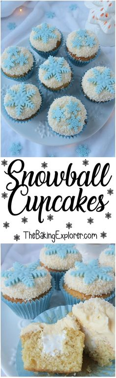 A recipe for Snowball Cupcakes! Filled with marshmallow fluff, flavoured with vanilla & coconut, and decorated with fondant snowflakes. Christmas, Frozen