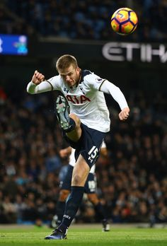 Eric Dier of Tottenham Hotspur clears the ball during the Premier League match between Manchester City and Tottenham Hotspur at the Etihad Stadium on January 21, 2017 in Manchester, England.