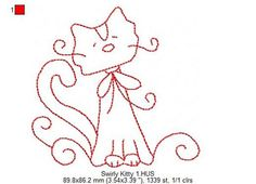 SWIRLY KITTY  Redwork  Machine Embroidery  3 by 77myrtlestreet