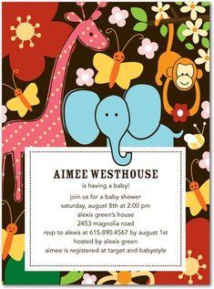 elephant, giraffe, and monkey baby shower invitations