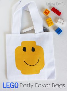 Lego Party Favor Bags (she: Jessica) cute enough to make it lots of colors!