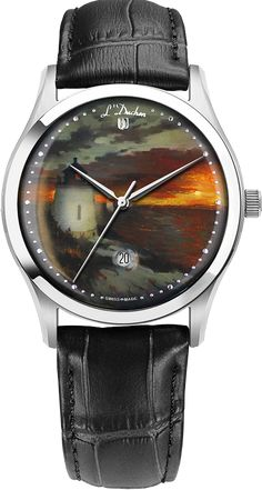 D - Castle Hill Lighthouse Sunset Castle Hill Lighthouse, Swiss Made Watches, Quartz Watches, Stainless Steel Case, Unique Gifts, Sapphire, Miniatures, Hand Painted, Sunset