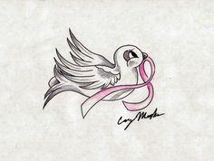 22_Breast Cancer Dove Tattoo Design