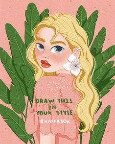 Illustrator sur Instagram : Day 53 of 366 😍🌱 30k 🎉 ✏️DRAW THIS IN YOUR STYLE ✏️ Are you ready? Here are some rules: 💛 Redraw this in your style 💛 Post my illustration on… Tropical Girl, Illustrators On Instagram, Princess Zelda, Disney Princess, Instagram Fashion, Your Style, Disney Characters, Fictional Characters, Aurora Sleeping Beauty
