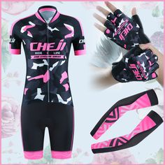 New Arrival Cheji Cycling Kits Women Best Matched Cycle Clothing Sets Gloves Arm Warmer Pro Cycling Wears Summer Bike Clothes || US $84.80