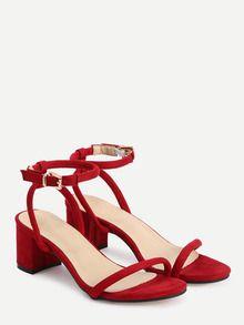 Sandalias de cuero sintético con correa -rojo-Spanish SheIn(Sheinside)