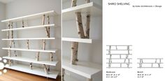 Shiro Shelving. One of our most popular pieces of furniture. The raw birch trunks give the impression the shelves are floating in a forest