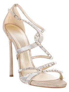 Nude leather sandals from Casadei featuring a round open toe, crystal detailing, an ankle strap with a buckle fastening and a stiletto heel. Ankle Strap Sandals, Leather Sandals, Strappy Sandals, Stilettos, Pumps, Jeweled Shoes, Beautiful High Heels, Designer Sandals, So Little Time