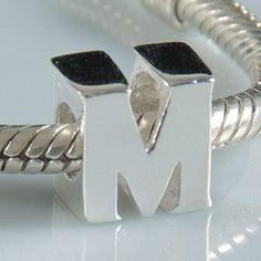 M - Initial Letter - Sterling Silver Charm Bead - fits Pandora, Chamilia etc style Bracelets - SpangleBead