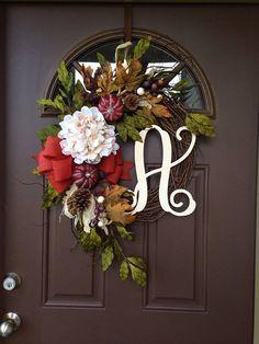 NEW  Pumpkin and Hydrangea Wreath  Front Door Decor