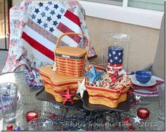 Love the use of the Longaberger baskets....I'll have to use mine for a patriotic centerpiece. Nice!