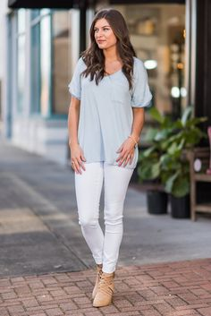 """On The Go Tee, Sky Blue""  When you're on the go you have to be comfortable in what you're wearing. You want to be comfy, unrestricted and unencumbered. So what should you wear? This loose fitting pocket tee of course!  #newarrivals #shopthemint"