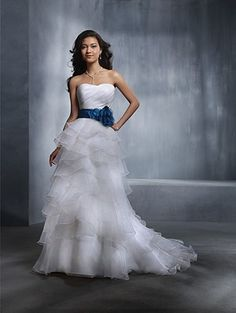 Alfred Angelo Wedding gown.  Love the blue accent!