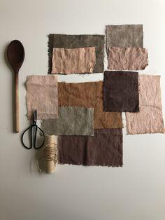 Natural dyes palette on linen Natural Dye Fabric, Natural Dyeing, Tinta Natural, Textiles, Textile Dyeing, Shibori, Wet Felting, How To Dye Fabric, Colour Schemes
