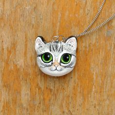 Tabby Cat Necklace Polymer Clay Cat minimio Necklace