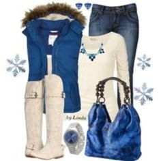 """Blue & Cream Winter Outfit"" I like but doubt I'd wear a puffer or white boots Cute Fashion, Fashion Outfits, Womens Fashion, Fashion 2014, Fall Winter Outfits, Autumn Winter Fashion, Winter Style, Elegante Y Chic, Casual Mode"