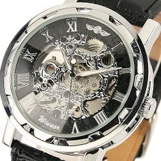 ESS Men's Black Dial Leather Strap Luxury Stainless Case Hand-Wind Up Mechanical Wrist Watch WM090 ESS. $18.99. stainless steels watch case. precision Japanes mechanical movement. come with black gift box. skeleton dial. 100% brand new