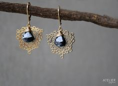 Freeform Teardrop & Black Spinel Earrings by ATELIERGabyMarcos, $65.00