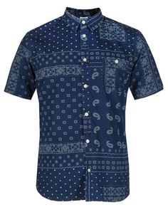 EDWIN Mens Blue SIMPLE CHAMBRAY ALL OVER PRINT SHIRT
