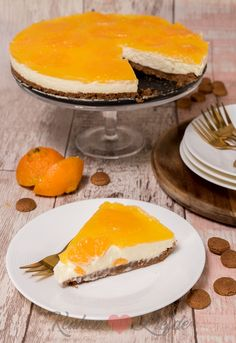 Tangerine-monchou pie with herb base - Big Cakes, Sweet Cakes, Biscuits, Sweet Pie, Cheesecake, Pie Dessert, Piece Of Cakes, Christmas Desserts, High Tea