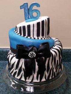 topsy turvy blue sweet sixteen cake with zebra stripes :D