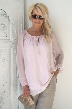 RAIN Silk blouse, Light pink - BOHEMIANA - BYPIAS
