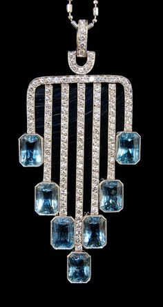 Platinum Diamond and Aquamarine Pendant Necklace