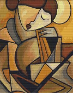 0 point de croix moderne femme mosaique marron - cross stitch modern brown mosaic lady