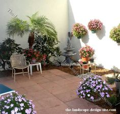 tuscan patio with water feature ideas #courtyard #landscape ... - Small Enclosed Patio Ideas