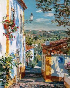 Landscape Art, Landscape Paintings, Mediterranean Art, Illustration Art, Illustrations, Texture Art, Art Oil, Oeuvre D'art, Art Inspo